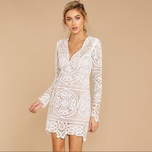 """""""Go All the Way"""" White Lace Dress"""
